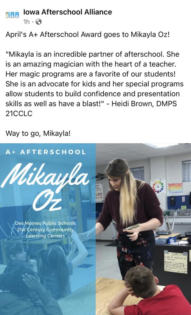 Iowa Afterschool Alliance - Mikayla Oz